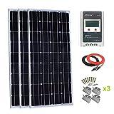 Giosolar Kit de Panel Solar monocristalino de 300 W con LCD MPPT 30 A Controlador de Carga Solar para RV Boat Off-Grid System