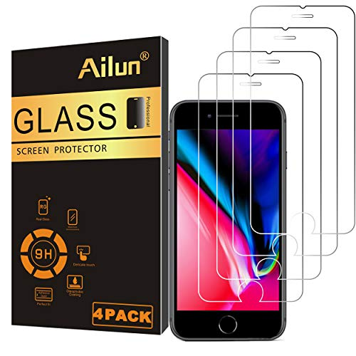 Ailun Screen Protector Compatible with iPhone 8 plus 7plus 6plus 6s Plus,[4Pack],2.5D Edge Tempered Glass,Compatible with iPhone 8 plus 7plus 6plus 6s Plus,Anti-Scratch,Case Friendly