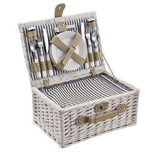 casa.pro] Cesta de pícnic para 4 Personas - Set de pícnic con Nevera, Incluye Platos, Cubiertos, sacacorchos y Vasos (Blanca)
