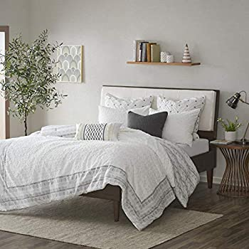 INK+IVY Comforter Cotton Clipped Jacquard Season Down Alternative Cozy Bedding with Matching Shams Full/Queen 88 x92   Mill Valley Gray Reversible to White Aztec Print 3 Piece