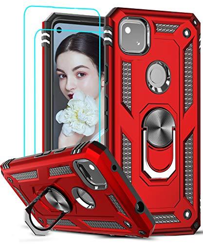 LeYi für Google Pixel 4a Hülle mit Panzerglas Schutzfolie(2 Stück),360 Grad Ring Halter Handy Hüllen Cover Magnetische Bumper Schutzhülle für Case Google Pixel 4a Handyhülle Rot