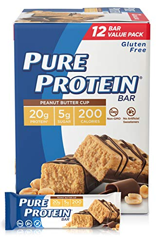 Pure Protein Bars, High Protein, Low Sugar, Gluten Free, 1.76 Ounce Peanut Butter 12 Count