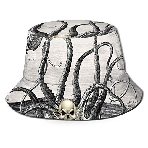 Sombrero de Sol de Cubo de Barco de mar de Calamar Gigante para Hombres y Mujeres, protección UV, Sombrero de Verano para Acampar, Flexible y Duradero