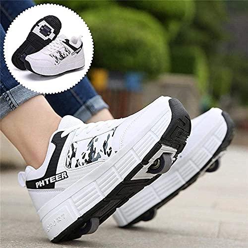 XRDSHY Scooter Skate Shoes Sneakers, Zapatos para Niños con Rollos, Zapatos Al Aire Libre Zapatillas De Moda De Gimnasia, para Niños Niñas Adultos Jóvenes,White-39