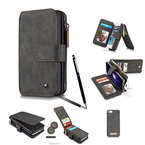 iPhone SE ケース 第2世代 2020/iPhone 7/iphone 8ケース 【Mobile beauty】ビンテージレザー 多機能スマホ手帳型 カード収納(小銭やイヤホン、コインなど収納可能) 財布合一 マグネット脱着式 取り外し可能 アイフォン7/8 手帳型 おしゃれ 耐汚れ 衝撃吸収 スマホ ケース スマートフォン(ブラック,タッチペン)