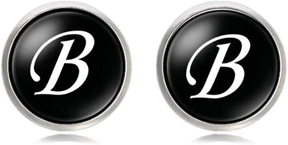 White Gold PlatedClear Acrylic Resin Surface Alphabet Initial Letters Cufflinks