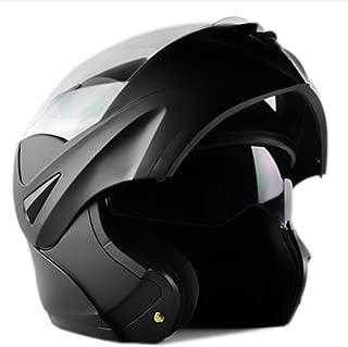 ILM 10 Colors Motorcycle Dual Visor Flip up Modular Full Face Helmet DOT (M, Matte Black)