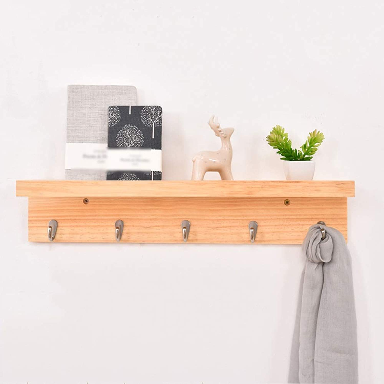 QFFL Coat Rack, Wooden Coat Hat Hook Wall-Mounted Coat Rack for Corridor Entrance Living Room Bedroom Kitchen Bathroom-2 color 3 Size Optional Wall Hanger (color   Wood color, Size   5 Hooks)