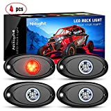 Nilight LED Rock Light 4PCS Red Light Pods Waterproof Under Body Wheel Well Light Exterior Interior Lights for Car Truck Pickups ATV UTV SUV Motorcycle Boat, 2 Years Warranty
