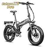 Eahora X7 PRO 500W Fat Tire Folding Electric Bike 48V Snow Beach Electric Bikes for Adults Dual Disc Brakes, Full Suspension, Removable Lithium Battery, E-PAS Recharge System, 7-Speed Gear