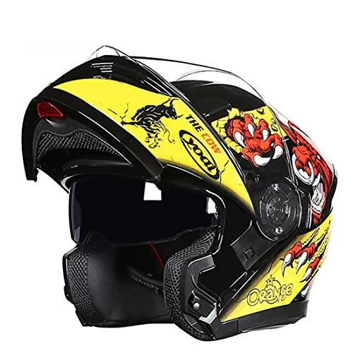 LSRRYD Integral Modular Casco Moto con Ranura Auriculares Bluetooth Doble Visera Flip Up Casco Motocross para Hombre Y Mujer Adulto Motocicleta Casco Scooter Certificación ECE/Dot