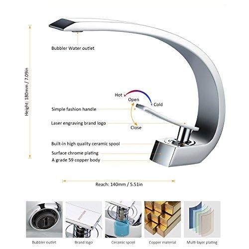 BONADE® Wasserfall Einhebel-Waschtischarmaturen Mischbatterie Wasserhahn Bad Armatur für Badezimmer Waschbecken, 59 Kupfer, Chrom - 3