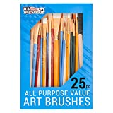 U.S. Art Supply 25 Piece All-Purpose Assorted Artist Paint Brush Set - Use for Acrylic, Oil, Watercolor and...