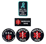Antrix 5 Pieces Dog Patches EMT EMS Medic Medical Service Dog Patch Not All Disabilities are Visible Patch ESA Emotional Support Animal Patch Therapy Dog Morale Patch for Dogs and Pets