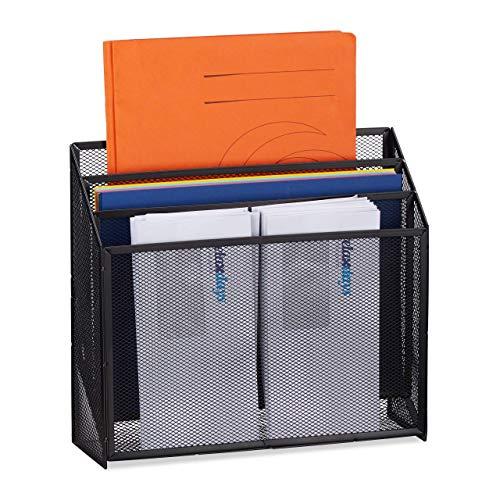 Relaxdays Dokumentenhalter, stehender Briefhalter mit 3 Ablagen, für Schreibtisch, Metall, HBT 29,5 x 32 x 9 cm, schwarz