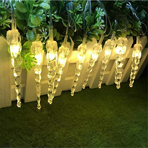 PXNH Iluminación navideña Icicle Decoración navideña Luces navideñas Al aire libre Impermeable Cortina de hadas Luces de cadena Enchufe del Reino Unido 5M 28LED Blanco cálido