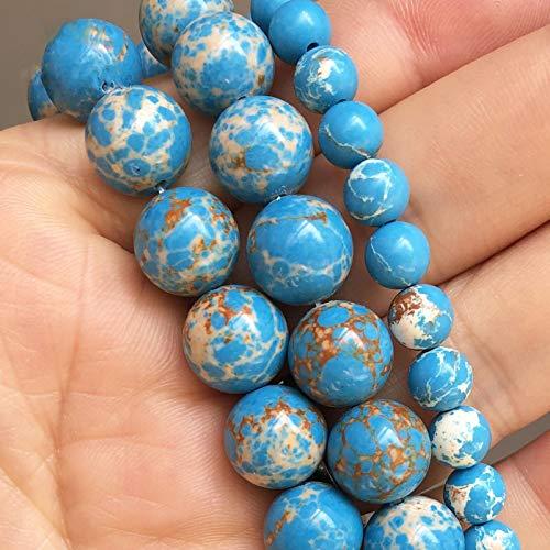 Cuentas de Piedra de Jaspe de sedimento Marino Azul Claro, Cuentas espaciadoras Sueltas Redondas para Hacer Joyas, Pulsera DIY, tamaño de selección de 15 Pulgadas, 4/6/8/10/12 Mm 6mm (Approx 61pcs)