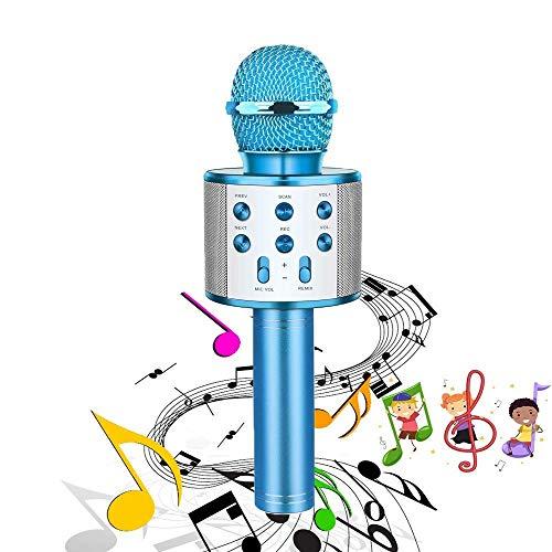 マイクカラオケのワイヤレスXPASIONポータブルBluetoothカラオケプレーヤーのための携帯用BluetoothカラオケプレーヤーのスピーカーiPhone iPad AndroidスマートフォンやPC、ホームKTV歌の録音屋外パーティーミュー撮影 (Color : Blue)