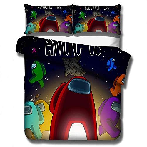 Entre nosotros juegos casuales juego de cama con funda nórdica 3D, funda edredón niños y niñas para adultos y adolescentes, cama individual suave y cómoda ropa de cama doble-A_180x210cm (3pcs)
