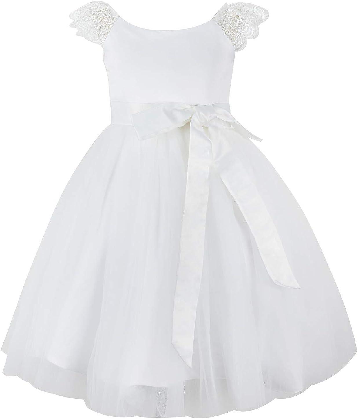 Mrprettys Off White Lace Tulle Flower Girl Dress Girls Wedding Party Dress Little Girl Dress Toddler Dress