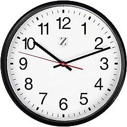 ZOYER Large Wall Clock Round Non-Tick Silent Decorative Wall Clock (Black, 10 Inch)