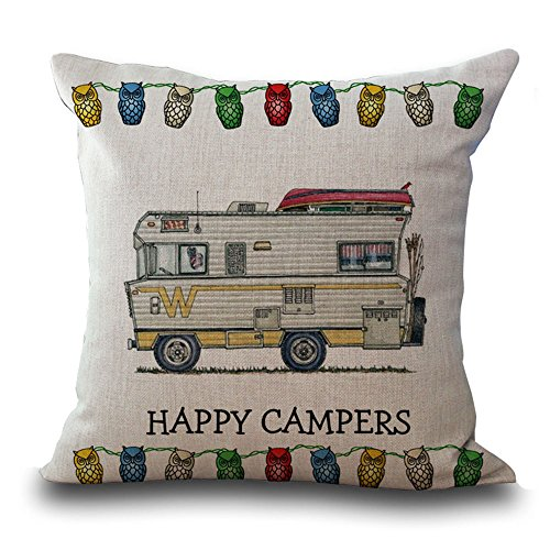 Hengjiang WEIANG Cartoon Camping Car Cotton Linen Cushion Cover 18X18 Pillowcase Throw Pillow Case Sofa Decoration Happy Campers (07)