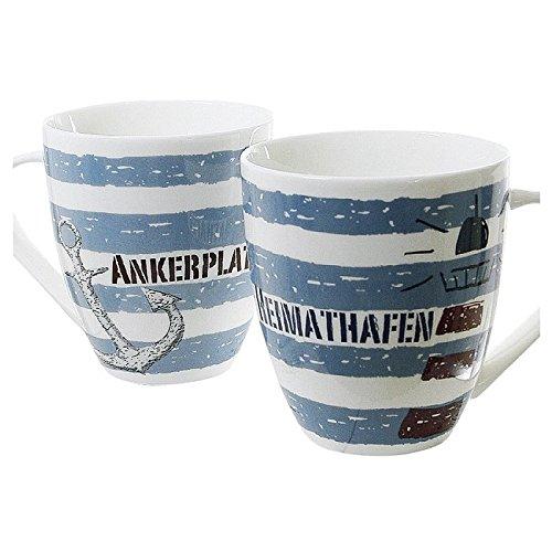 dio Only for You 49207 'Hafen' Kaffeebecher, Porzellan, 470 ml, Ø 10 cm, H 11,5 cm, weiß/blau (Modell zufällig, 1 Stück)