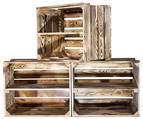 Vinterior 3er Set flambierte/geflammte Massive Obstkisten als Regal 50cm x 40cm x 30cm / Apfelkisten Weinkisten mit Zwischenbrett