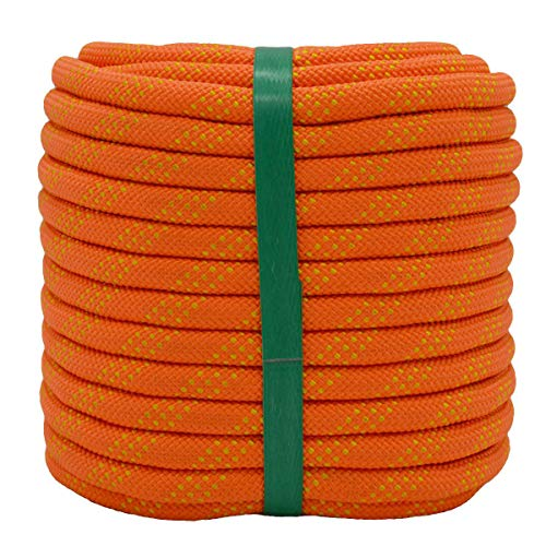 YUZENET Static Rock Climbing Rope 2/5 Inch 100 Feet Outdoor Safety Fire Escape Rope Rappelling Rope Orange/Yellow