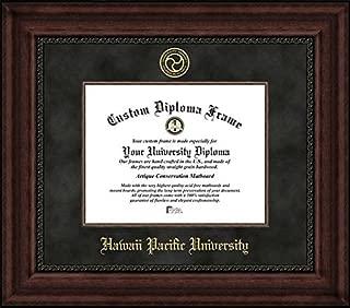 Laminated Visuals Hawaii Pacific University Sharks - Embossed Seal - Suede Mat - Mahogany - Diploma Frame