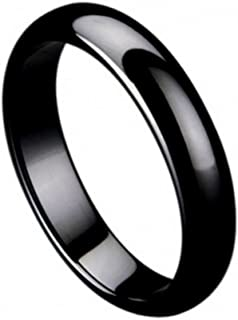 Ring for Men and Ring for Women 5mm Black Ceramic Wedding Band Ring Domed Ring High Polished Wedding Band Ring Ideal Rings for Couples