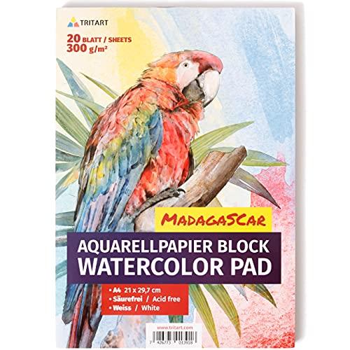 Tritart HOCHWERTIGES Aquarellpapier 300g / Din A4 / Weiß / 20 Blatt | Aquarellblock