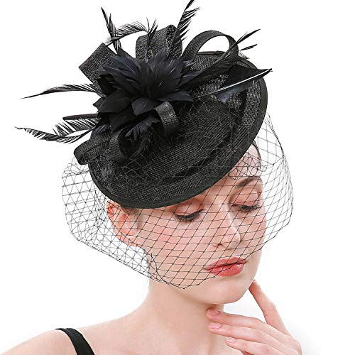 Coucoland Feder Fascinators Hut Damen Ahorn Blatt Mesh Hochzeit Braut Elegant Fascinator Haarreif Cocktail Tee Party Damen Fasching Kostüm Accessoires (Schwarz)
