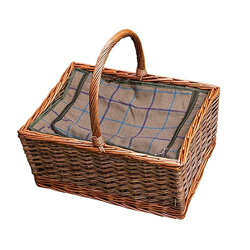 Red Hamper Wicker Willow Large Triple Weave Butchers Wicker Picnic Basket with Fitted Cooler