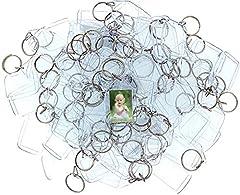 Idea Regalo - Portachiavi Foto in Acrilico (100 Pz) - 3,4 x 5,4cm Trasparente Portachiavi Vuota - Portachiavi con Inserti Immagini Personalizzate - Portachiavi Plastica Adatto a Donne e Uomini