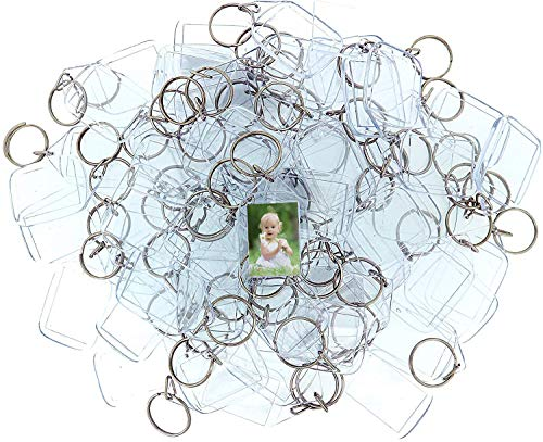 DIY Keychain (100 Pieces) - 1.33 x 2.1inch Acrylic Clear Picture Keychains - Transparent Double Sided Photo Insert Blank Keyrings - Personalized Custom Keyring for Men, Women