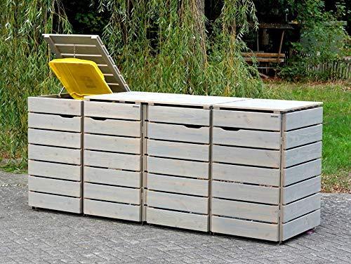 4er Mülltonnenbox / Mülltonnenverkleidung 240 L Holz, Transparent Geölt Grau - 3