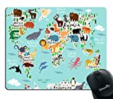 Smooffly Map Mouse Pad Office, Animal Map of The World for Children and Kids Cartoon Mountains Forests Image, Rectangle Non-Slip Rubber Mousepad, Blue Green