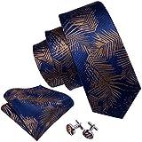 Barry.Wang - Set da uomo con cravatta, fazzoletto da tasca quadrato e gemelli, taglia unica, colore: blu, modello: 5011