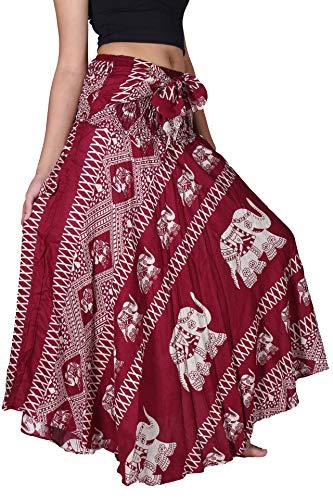 B BANGKOK PANTS Women's Hippie Long Skirt Elephant Print (Red Elephant, One Size)