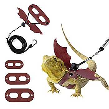Lewondr 3 Pack Bearded Dragon Lizard Leash Harness Adjustable Bat Wing Soft Leather Reptile Leash Cool Wings 3 Different Size S,M,L for Amphibians and Other Small Pet Animals - Black & Wine Red