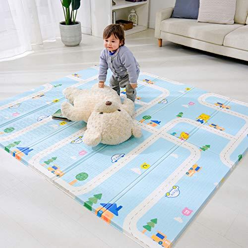 Bammax Tapis de jeu pour bébé, tapis de jeu en mousse pour jeu de sol pour bébé, tapis de bébé pliable grand tapis de bébé épais et doux, imperméable réversible sans toxique