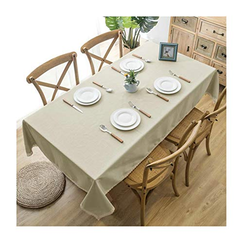 KnSam Polyester Tablecloth Protector Rectangle, Table Cloth Heat Resistant 120x120cm Solid Color with Lace Tablecloth Dining Room Table Beige
