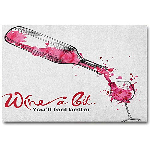 ScottDecor Wine Wall Mirror Decor Wine a Bit You Feel Better Inspirational Quote Bottle Pouring Sketch Art Gifts for Women who has Everything Pink Dark Coral Black L16 x H24 Inch