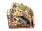 Mini presepe Completo 20x15 cm Alto 20 cm con Cascata Acqua Vera, con luci Sughero e Legno Napoletano per pastori da 3-4 cm statuine presepe ricevi Un Portachiavi S.G. ARMENO Artigianali gtt