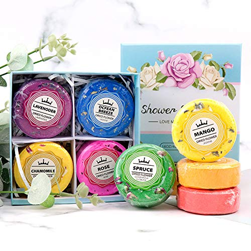 Natural Shower Steamers Organic Essential Oils For Home Spa- Set of 8 Different Scents Aromatherapy Shower Bombs Vapor Tablets Different fragrance Bath Bombs For Stress & Anxiety Relief