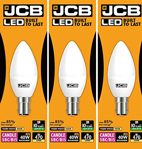 JCB 6w LED B15 Candle Bulbs Small Bayonet, 40w Incandescent Bulb Equivalent, 470lm, Warm White 3000k, Non Dimmable, LED Small Bayonet Bulb Candle Light Bulbs, 220-240v. Packs of 3 Units