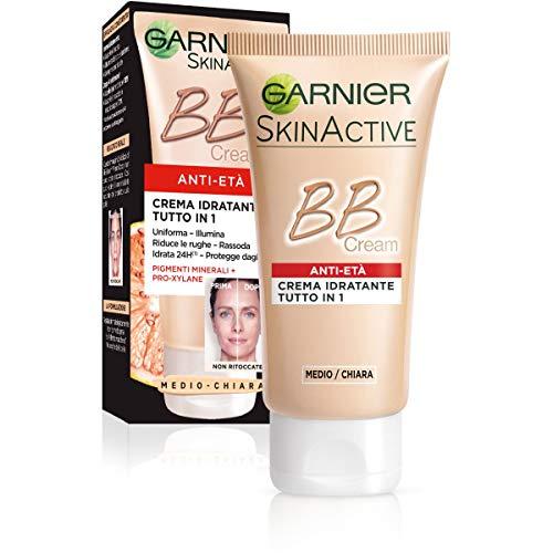 GARNIER BB Cream Anti-età Crema Idratante Tutto in 1, Arricchita con Pigmenti Naturali e Pro-Xylane Anti-rughe, Medio-Chiara, Confezione da 1, 50 ml