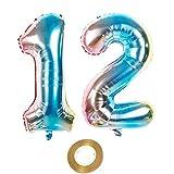 Globos de aire de 40 pulgadas con número 12 en arco iris para niñas, decoración de cumpleaños, número 12, globos de helio, número 12, globos de helio con números, tamaño XXL, 100 cm