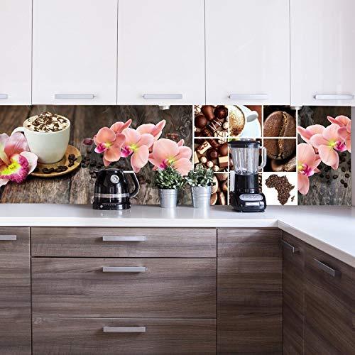 wandmotiv24 Küchenrückwand Kaffee Orchidee Schokolade Braun 180 x 50cm (B x H) - Acrylglas 4mm Nischenrückwand, Spritzschutz, Fliesenspiegel-Ersatz, Deko Küche M1085
